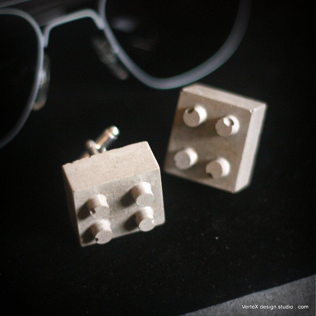 Concrete Lego Brick Cufflink